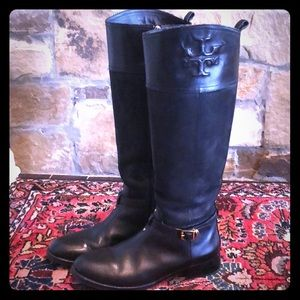 Tory Burch Black Leather Suede Riding Boots 8.5